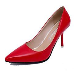 Mujer-Tacón Stiletto-Pump Básico / Puntiagudos-Tacones-Boda / Oficina y Trabajo / Fiesta y Noche-Cuero Patentado-Negro / Rosa / Rojo /