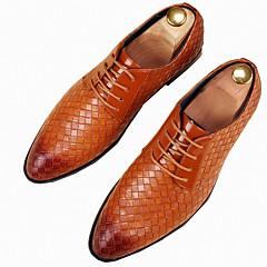 Oxfords-Tyl-Formelle sko-Herrer-Sort Gul Rød Hvid-Kontor Fritid Fest/aften-Flad hæl