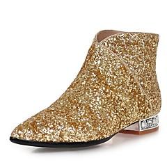 נשים-מגפיים-נצנצים חומרים בהתאמה אישית-מגפי אופנה-שחור לבן כסוף זהב-שמלה יומיומי מסיבה וערב-עקב עבה