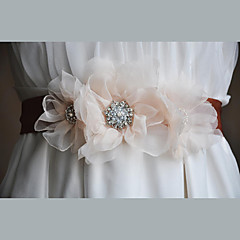 Chiffon / Alloy Wedding / Party/ Evening / Dailywear Sash-Floral / Rhinestone Women's 86 ½in(220cm)Floral /