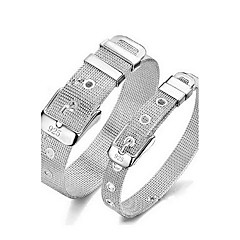 Men Women's S925 Sterling Silver Steel Adjustable Bangle for Wedding Party Casual Couple Bracelet Jewelry Gift
