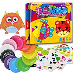 10pcs enfants diy animaux de bande dessinée créatifs jouets autocollant main kindergarden colorés assiettes en papier jouets éducatifs
