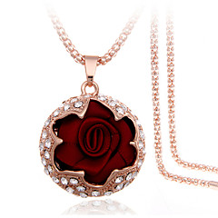 Women's Pendant Necklaces Alloy Rhinestone Fabric Simulated Diamond Rose Gold Plated Fashion Gift Boxes & Bags Black Rose Blue Pink Wine