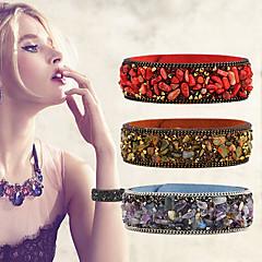 7 Colors Fashion Punk Popular Charm Crystal Crushed Stone Leather Bracelet&Bangles Women Men Jewelry
