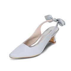 Magassarkú / Szögletes orrú-Vastag-Női cipő-Magassarkúak-Esküvői / Party és Estélyi-Selyem-Fekete / Kék / Rózsaszín / Lila / Piros /