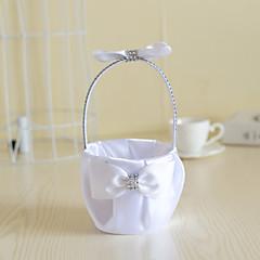 סאטן לבן עם סל פרחי קישוט קריסטל קשת bowkont למסיבת חתונה (12 * 12 * 24cm)