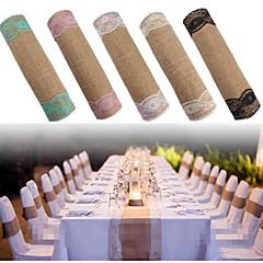 Vintage Jute Burlap Lace Hessian Lace Table Runner Natural Jute Country Party Wedding Decoration 30*275cm