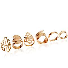 Anéis Fashion Casamento / Pesta Jóias Liga Feminino Anéis Meio Dedo 1conjunto,Ajustável Dourado