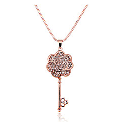 Rose and Key Pendant Sweater Chain Long Necklace For Best Friends Wedding Party Jewelry Women With Gift Box