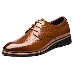 Men's Oxfords Spring /Fall Comfort Pointed Toe Cowhide Office & CareerParty & Evening Chunky Heel Lace-up Black Walking