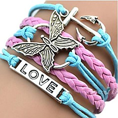 Leather Charm Bracelets European Butterfly 18cm Womens Multicolor Leather ID Bracelet inspirational bracelets(1 Pc)