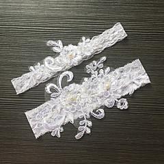 Liga Satén Elástico Encaje Flor Perla Artificial Blanco