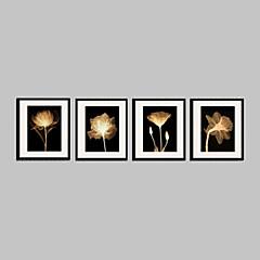 Blumenmuster/Botanisch Gerahmtes Leinenbild / Gerahmtes Set Wall Art,PVC Stoff Schwarz Passpartout inklusive Mit Feld For Haus Dekoration