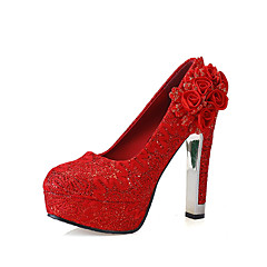 Women's Shoes Red Flower Wedding Shoes Round Toe Lace Platform 4.73 Inch Heels Party&Evening Bridal Wedding Shoes