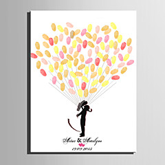 E-HOME® Personalized Fingerprint Painting Canvas Prints -People Under The Balloon (Includes 12 Ink Colors)