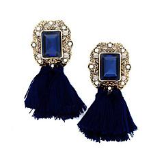 Boucles d'oreille goutte Cristal Strass Plaqué or Tissu Alliage Mode Vintage Bohême Forme Géométrique Rouge Vert Bleu Rose Arc-en-ciel