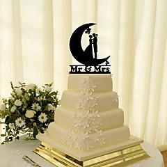 Decorações de Bolo Não-personalizado Casal Clássico Acrilíco Casamento Flôr Preto Tema Clássico 1 Caixa Oferta