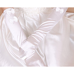 Elbow Length Fingertips Glove Silk Tulle Bridal Gloves Spring Summer Fall Winter Bow