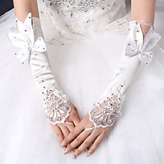 Elbow Length Fingerless Glove Silk Bridal Gloves Spring Summer Fall Winter Rhinestone lace