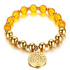 Yellow crystal bead gold bracelet 8MM Tags