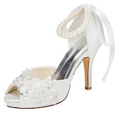 Γυναικεία παπούτσια-Τακούνια-Γάμος Φόρεμα Πάρτι & Βραδινή Έξοδος-Τακούνι Στιλέτο Πλατφόρμα-Πλατφόρμες-Ελαστικό Σατέν-Ιβουάρ Άσπρο