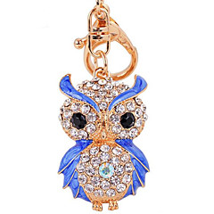 divat gyémánt bagoly autó kulcs táska hölgy medál kulcs csat gyűrűs lánc fém színű