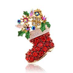 Femme Broche Noël Mode Bijoux de Luxe Imitation Diamant Rouge Bijoux Pour Quotidien Décontracté Regalos de Navidad