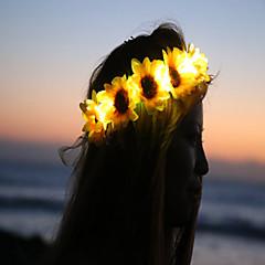 girassol levou acender flor crownfloral headbandlight acima da flor crownheadband dia das bruxas Coachella