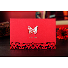 Personnalisé Pli Parallèle Horizontal Invitations de mariage Cartes d'invitation-1 Pièce/Set Style des mariés Papier gaufré