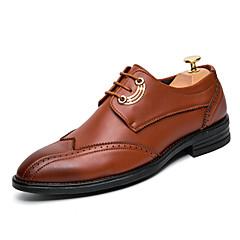 Masculino-Oxfords-Conforto sapatos Bullock-Salto Baixo-Preto Marrom Vermelho-Couro-Casamento Escritório & Trabalho Festas & Noite