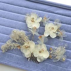 Vrouwen Bergkristal Licht Metaal Chiffon Helm-Bruiloft Speciale gelegenheden Haarkammen Bloemen Guirlandes 3-delig