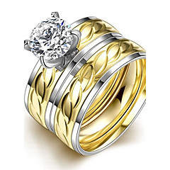 Ring Wedding / Party / Daily / Casual Jewelry Stainless Steel / Zircon Women Ring 1pc,6 / 7 / 8 / 9 Gold