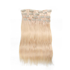 9Pcs/Set Deluxe 120g Clip In Hair Extensions Bleach Blonde 16Inch 20Inch 100% Straight Human Hair For Women