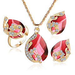 Šperky 1 x náhrdelník 1 x pár náušnic Prstýnky 1 balíček Diamant Safír Smaragd Křišťál Svatební Párty Křišťál Slitina Štras Pozlacené