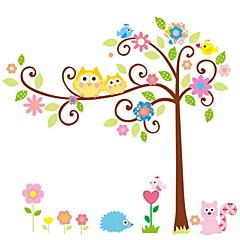 wall stickers Vægoverføringsbilleder, style tegneserie ugle heldig træ pvc wall stickers