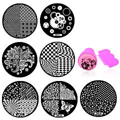10pcs nail plates+ 1set nail stamper and scraper - 5.5cm for dia - Virág - Fém - Ujj / Toe - Más dekorációk