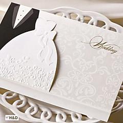 מותאם אישית מקופל הזמנות לחתונה כרטיסי הזמנה-50 יחידה / סט סגנון כלה וחתן כרטיס נייר ערכות