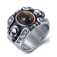 Pánské Prsteny s kamenem Prsten Onyx bižuterie Achát Titanová ocel Šperky Pro Denní Ležérní
