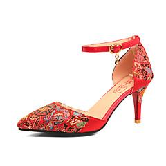 Feminino-Sandálias-Conforto Tira no Tornozelo Sapatos bordados-Salto Agulha-Vermelho-Seda-Casamento Social Festas & Noite