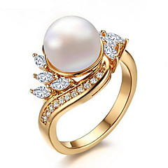 Ring Pearl AAA Cubic Zirconia Pearl Zircon Cubic Zirconia Gold Plated Gold Jewelry Wedding Party Daily Casual 1pc