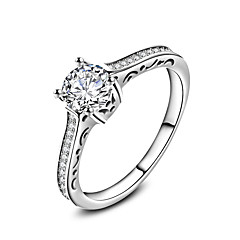 New Luxurious AAA Zircon 925 Sterling Silver Wedding Engagement Ring Clear Fine Jewelry