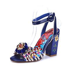 נשים-סנדלים-עור-נוחות רצועת קרסול-כחול-חתונה מסיבה וערב שמלה-עקב עבה