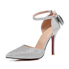 Women's Heels Spring Summer Fall Club Shoes PU Glitter Wedding Party & Evening Dress Stiletto Heel Bowknot Sparkling Glitter BuckleBlack