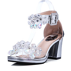 Women's Sandals Summer Other D'Orsay & Two-Piece Leather Wedding Party & Evening Dress Chunky Heel Crystal Buckle Silver Other