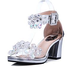 Damen-Sandalen-Hochzeit Kleid Party & Festivität-Leder-Blockabsatz-D'Orsay und Zweiteiler-Silber