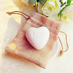 4bag White Heart Soap in Rustic Giftbag Beter Gifts® Wedding Favor