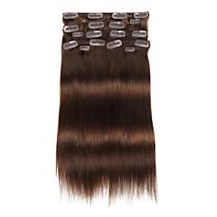 9pcs / set deluxe 120g # 4 mediu maro clip coajă maro în extensii de păr 16inch 20inch 100% păr uman drept
