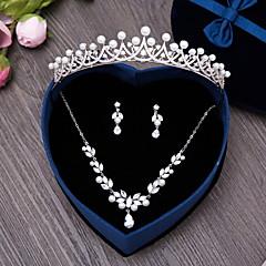 Šperky 1 x náhrdelník 1 x pár náušnic Šperky do vlasů Imitace perly Kubický zirkon Svatební Párty Denní Napodobenina perel Zirkon 4ks