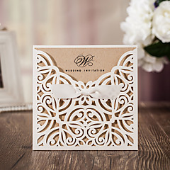 50pcs/lot White Laser Cut Luxury Flora Wedding Invitations Card Elegant Lace with Ribbon Envelopes Seals Favor Wedding Event & Party Supplies CW6179W