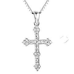Anhänger Kreuzform Sterling Silber Diamantimitate Kreuz Luxus-Schmuck Schmuck Für Alltag Normal